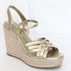 Coach Dottie Gold Leather Espadrille Wedge Sandals